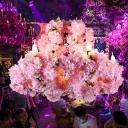 Pink 7-Light Ceiling Chandelier Industrial Metal Flower Suspension Pendant for Restaurant