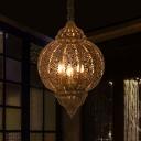 Laser Cut Ceiling Chandelier Art Deco Metal 3 Bulbs Hanging Pendant Light in Bronze