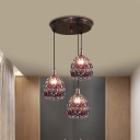 Dome Restaurant Cluster Pendant Light Decorative Metal 3 Lights Rust Hanging Lamp with Round/Linear Canopy