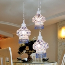 White/Blue 3 Bulbs Multi Light Pendant Traditional Metal Lantern Suspension Lamp with Round/Linear Canopy