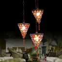3 Lights Conical Cluster Pendant Bohemian Rust Metal Hanging Light Fixture with Round/Linear Canopy