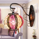 1 Bulb Lantern Sconce Light Art Deco Rust Metal Wall Mounted Lamp with Curvy Arm