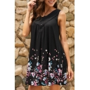 Fancy Casual Ladies' Sleeveless Round Neck Button Detail Floral Print Short Swing Tank Dress