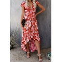 Pretty Hot Short Sleeve Deep V-Neck Bow Tie Front All Over Floral Printed High Low Maxi Pleated Flowy Dress for Vacation