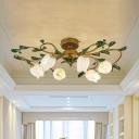 Tulip White/Yellow Glass Ceiling Light Country 6 Bulbs Living Room LED Semi Flush Mount Lighting