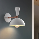 Contemporary 1 Head Sconce Light White/Black Domed Wall Mount Lighting with Metal Shade