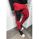 Men's Creative Color Block Panel Flap Pocket Front Low Crotch Skinny Fit Pencil Pants