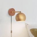 1 Head Bedside Wall Lamp Contemporary Brass Sconce Light Fixture with Spherical Metal Shade
