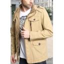 Mens Casual Plain Multi Pockets Epaulets Embellished Long Sleeve Zipper Cargo Jacket