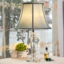Fabric Flared Table Light Traditionalist Single Head Bedroom Nightstand Lamp in White/Blue