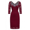 Fancy Burgundy Three-Quarter Sleeve Round Neck Zipper Back Floral Pattern Lace Midi Sheath Dress for Ladies