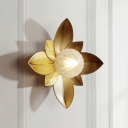 Leaf Sconce Light Modern Metal 1 Head Brass Wall Lighting Fixture with Orb Textured Glass Shade
