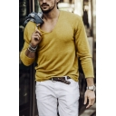 Men's Leisure Plain V-neck Long Sleeves Loose Fit Knitted T-Shirt Sweater