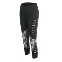 Stylish Black Women's High Waist Ripped Sheer Lace Patched Ankle Skinny Pants