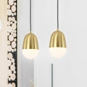 1 Head Bedroom Pendant Lamp Modernist Brass Hanging Light Fixture with Pill Metal Shade