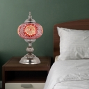 1 Bulb Stained Glass Night Table Lamp Mediterranean Red/Blue/Yellow and Blue Tower Bedroom Nightstand Light