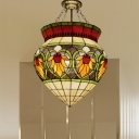 3 Lights Corridor Semi-Flush Ceiling Fixture Tiffany Green Semi Mount Lighting with Urn Stained Glass Shade