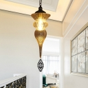 Amber Ribbing Glass Brass Pendant Light Jar Shaped 1 Light Traditionalist Hanging Ceiling Lamp