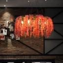 6 Heads Metal Pendant Chandelier Industrial Pink Flower Restaurant LED Down Lighting
