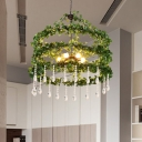 Round Restaurant Chandelier Light Vintage Metal 6 Heads Green Plant Pendant Lighting Fixture, 23.5
