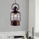 Bronze Lantern Hanging Lighting Art Deco Ribbed Glass 1 Light Study Room Ceiling Pendant