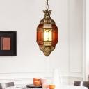 Metal Vase Pendant Lighting Vintage 1 Bulb Restaurant Hanging Ceiling Lamp in Brass
