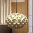 Lantern Pendant Lamp Chinese Bamboo 1 Head Beige Hanging Light Fixture, 12