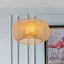 Bamboo Lantern Down Lighting Asia 1 Bulb Flaxen Pendant Light Fixture for Tearoom