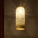 Chinese Hand Woven Pendant Lighting Bamboo 1 Bulb Ceiling Suspension Lamp in Beige