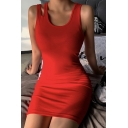 Ladies Active Solid Color Round Neck Hollow Out Sleeveless Mini Tank Dress