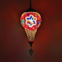 Traditional Ice Cream Shaped Pendant 1 Bulb White/Red/Yellow Stained Glass Hanging Ceiling Lamp