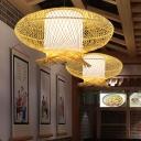 Khaki Handmade Pendant Lamp Asian 1 Bulb Bamboo Hanging Ceiling Light with Inner Tube White Parchment Shade