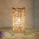 Cylindrical Desk Light Chinese Bamboo 1 Head Task Lighting in White/Coffee for Living Room