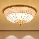 Chinese 3 Heads Flush Light Beige Dome Ceiling Mounted Fixture with Bamboo Shade