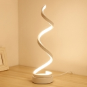 Acrylic Spiral Task Lighting Contemporary LED White Nightstand Lamp in White/Warm Light