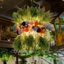 Industrial Plant Down Lighting 1 Bulb LED Metal Pendant Light in Green for Restaurant