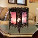 Rust Rectangle Table Lighting Decorative Metal 1 Bulb Living Room Nightstand Lamp