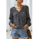 Stylish Street Ladies' Blouson Sleeve Surplice Neck All Over Flower Printed Relaxed Fit Wrap Blouse Top