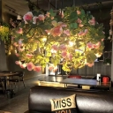 3 Bulbs Chandelier Light Industrial Plant and Flower Metal LED Suspension Lamp in Green