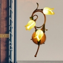 Yellow Glass Flower Wall Mounted Lamp Country Style 3 Heads Living Room Sconce Light Fixture