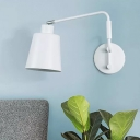1 Bulb Bedside Sconce Light Minimalist White Wall Mounted Lamp with Cone Metal Shade
