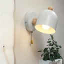 Shaded Sconce Contemporary Metal 1 Head White Wall Mounted Lighting with Wood Arm