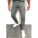 Men's Popular Drawstring Waist Stripe Print Skinny Fit Pencil Pants