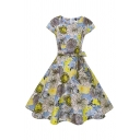 Vintage Pretty Short Sleeve Round Neck All Over Floral Printed Bow Tie Waist Mid Pleated Flared Dress in Yellow