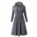 Casual Women's Long Sleeve Hoodie Drawstring Plain Midi Pleated A-Line Sweatshirt Dress