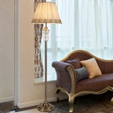 Classic Conical Floor Lamp Single Head Clear Crystal Standing Light in Beige with Fabric Pleated Shade