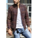 Men's Vintage Stand Collar Long Sleeves Zip Up Slim Fit Heathered Knit Cardigan Coat