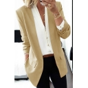 Women's Formal Plain Long Sleeve Shawl Neck Flap Pockets Relaxed Open Front Blazer
