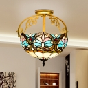 Floral Ceiling Flush Mount Mediterranean Stained Glass 2 Lights Yellow/Brown/Blue Semi Flush Light for Corridor
