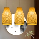 1 Bulb Teahouse Ceiling Lamp Asian Wood Pendant Light Fixture with Handmade Bamboo Shade